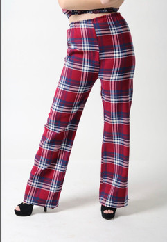 red and blue plaid flare pants