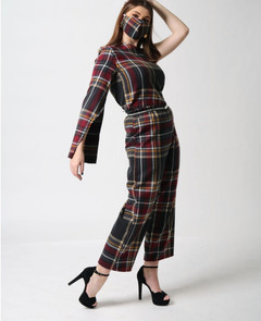 plaid one shoulder top paired with plaid ankle legnth pants