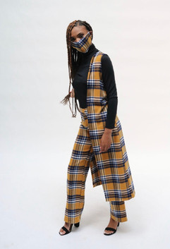 plaid vest paired with bellbottom plaid pants