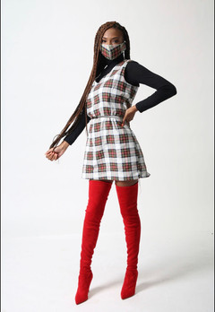 white and red plaid dress