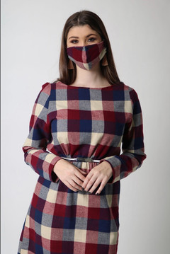 plaid dress with matching mask