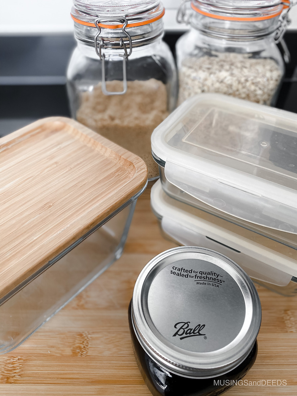 different sized glass containers for eco-friendly kitchen