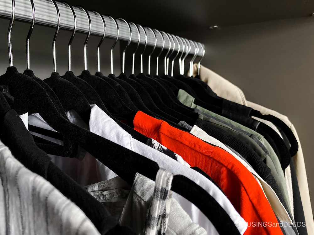Close up of clothes in closet