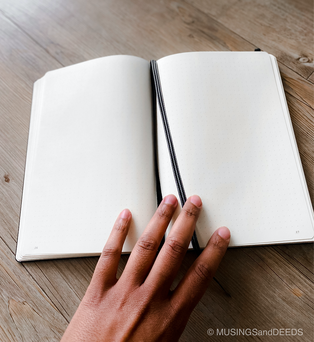 Hand opening notebook