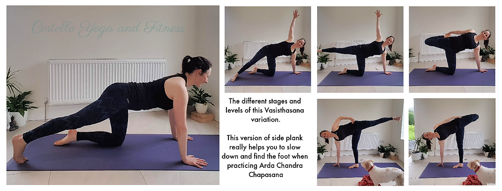 This version of side plank really helps you to slow down and find the foot when practicing Ardha Chandra Chapasana