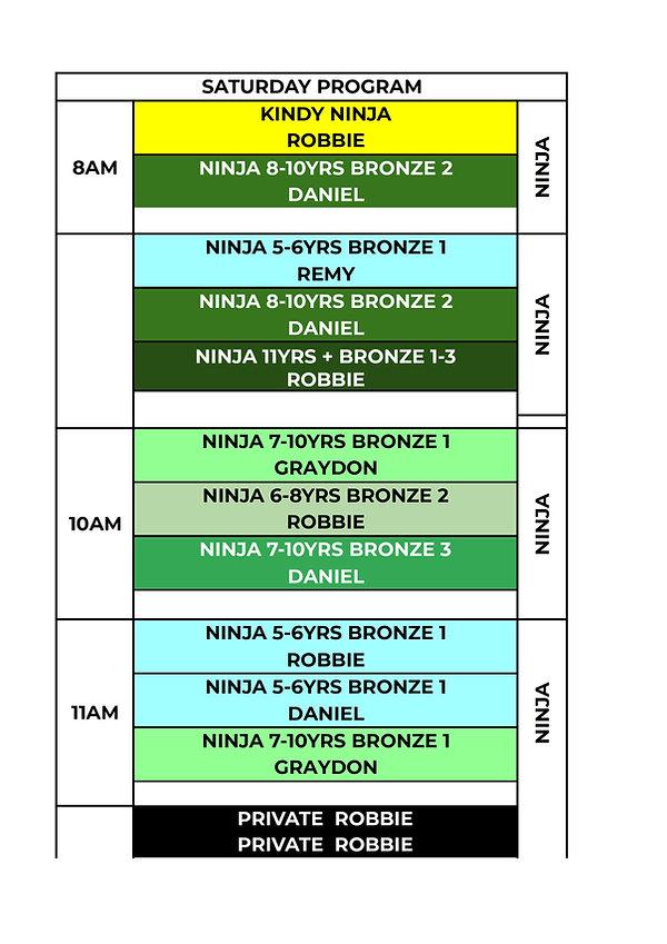 Ninja 2021 Timetable  - WEEKLY SATURDAY