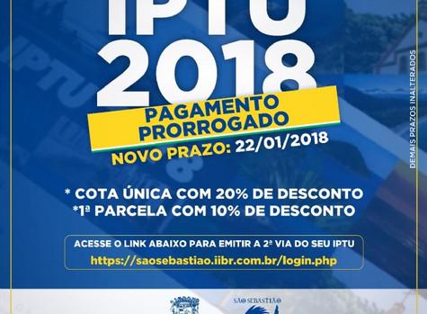 IPTU 2018 - Prorrogação de vencimento