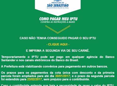 Esclarecimentos da Prefeitura de São Sebastião sobre o IPTU 2017