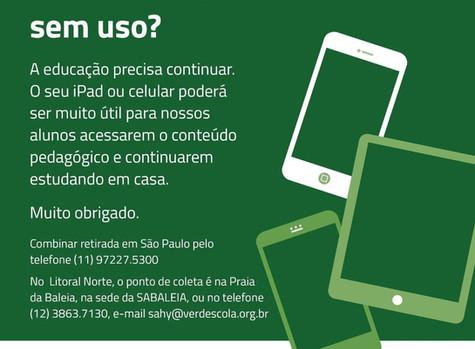 Doe seu tablet ou celular usado