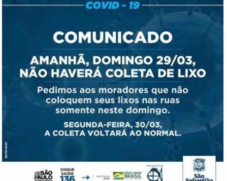 COMUNICADO - Coleta de lixo 29 e 30/03