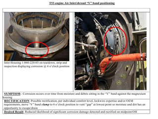 T53 Engine Air Inlet/Shround V Band positioning