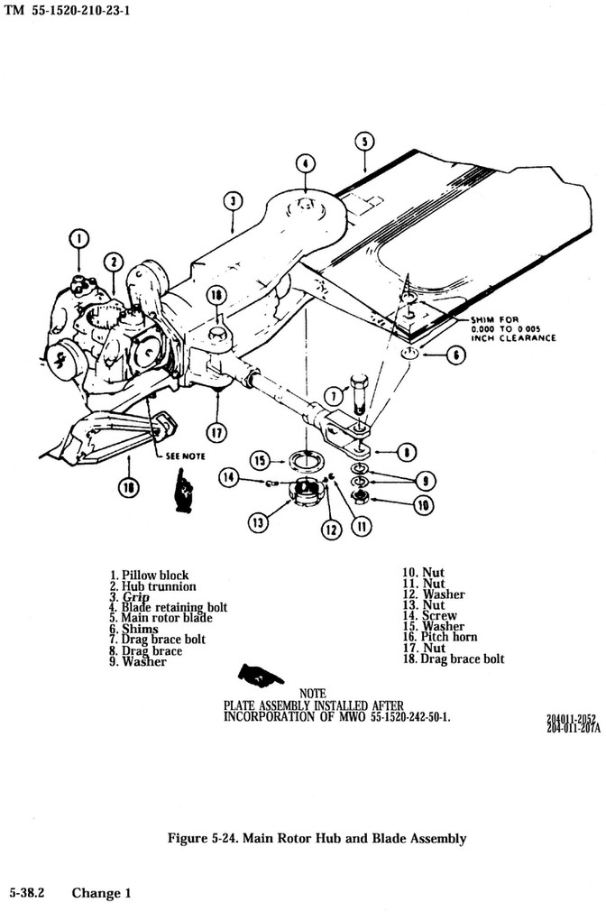 Main Rotor Drag Brace Outer Attaching Hardware