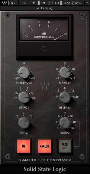 Une version logicielle (plug-in) d'un célèbre compresseur conçu par la firme Solid State Logic, ici commercialisée par l'éditeur de logiciels Waves