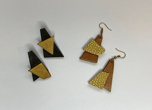 Upcycled Leather Earring