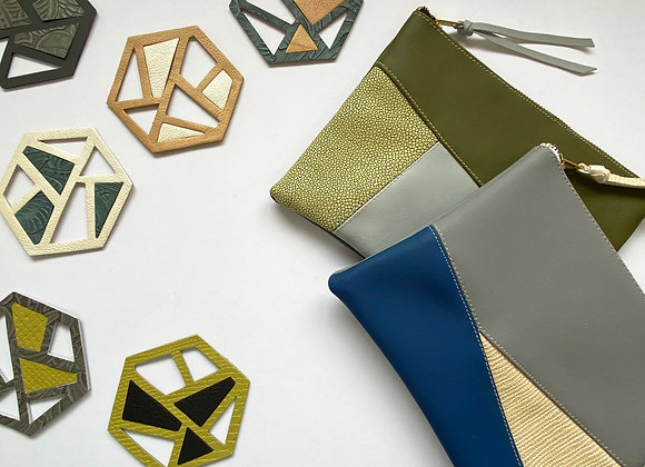 Upcycled PVC Leather Clutch Bags