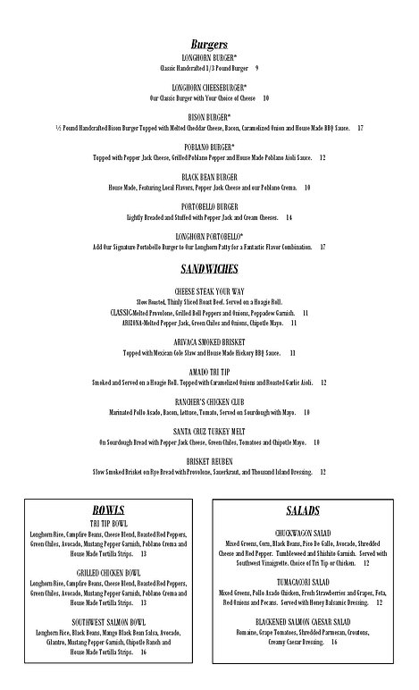 2020 Corona LONGHORN DINNER MENU May 15-