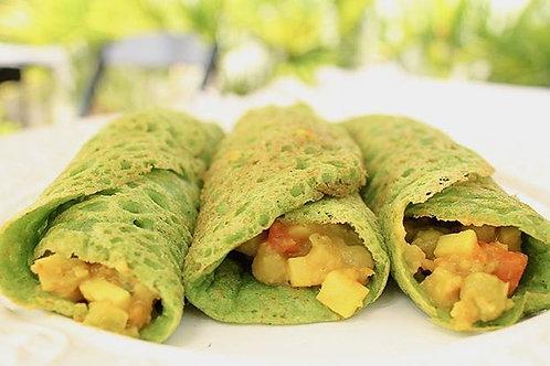 Panqueca Funcional Espinafre + Palmito com legumes