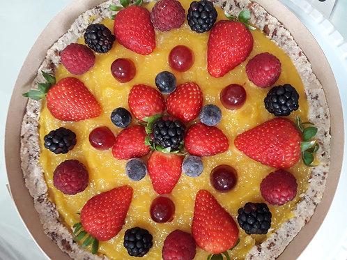 Torta de creme de manga com frutas