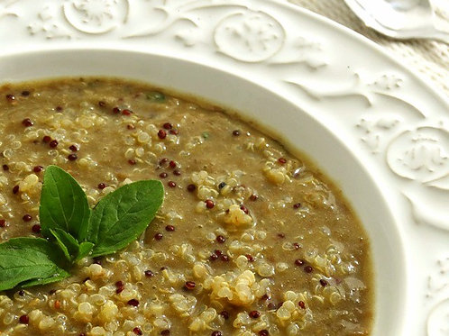 Sopa de Lentilha e Quinoa com Manjericão