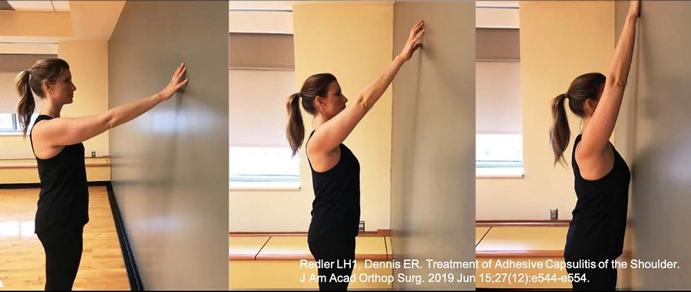 Exercícios para alongamento da cápsula articular e ganho de movimento no paciente com capsulite adesiva - ombro congelado.