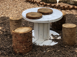 Table and stumps for sitting