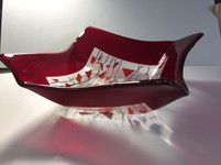 Large red confetti bowl