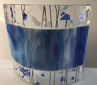 Pair blue confetti wall lamp shade