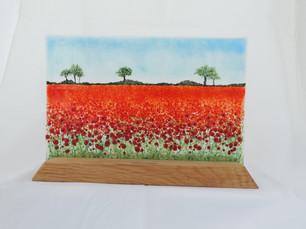 Poppy field 1 on Oak stand