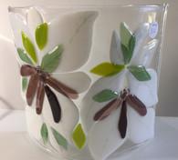 Pair lampshades - white/plum floral