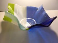 Large blue, green, white bowl