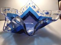 Large blues confetti bowl