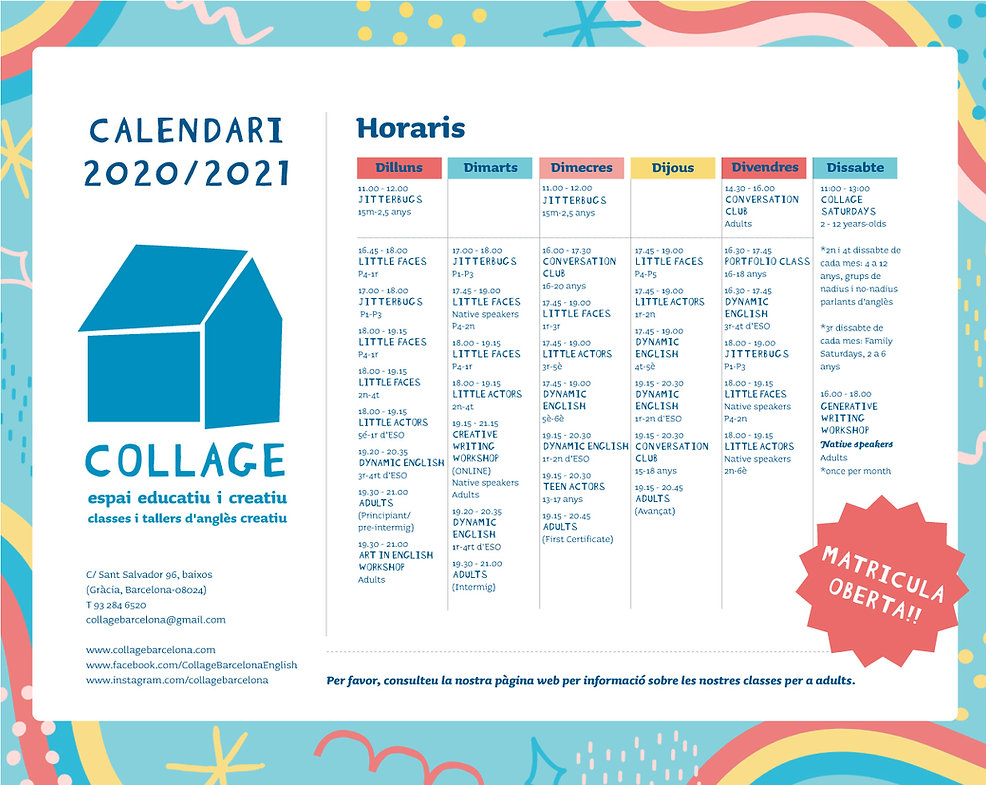 Collage class timetable for 2020 - 2021