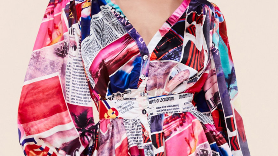 Multicolored newspaper dress