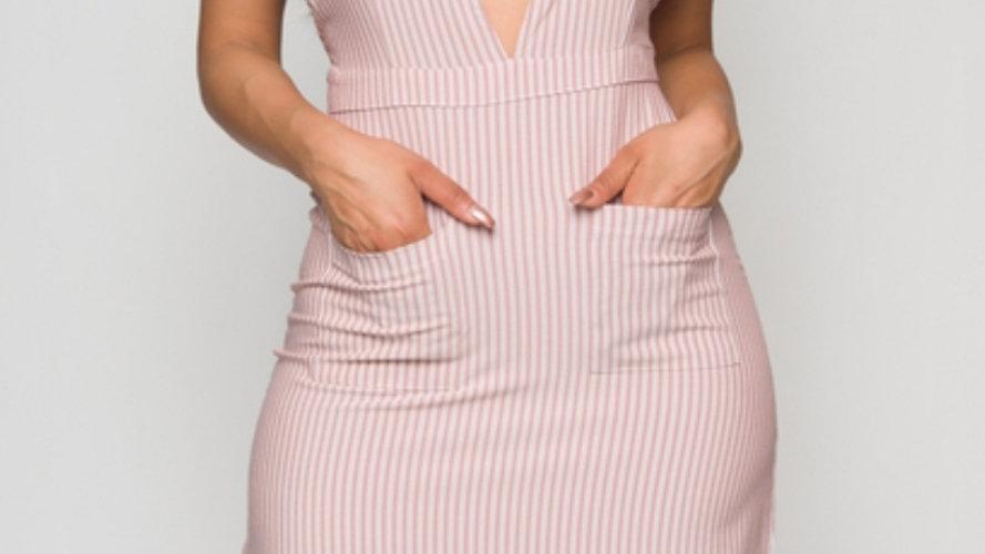 White and Pink Stripe Rose Dress