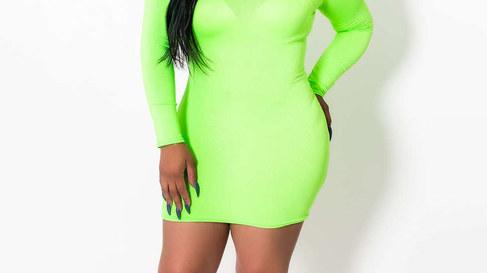 Turtle Neck Neon Rose Dress