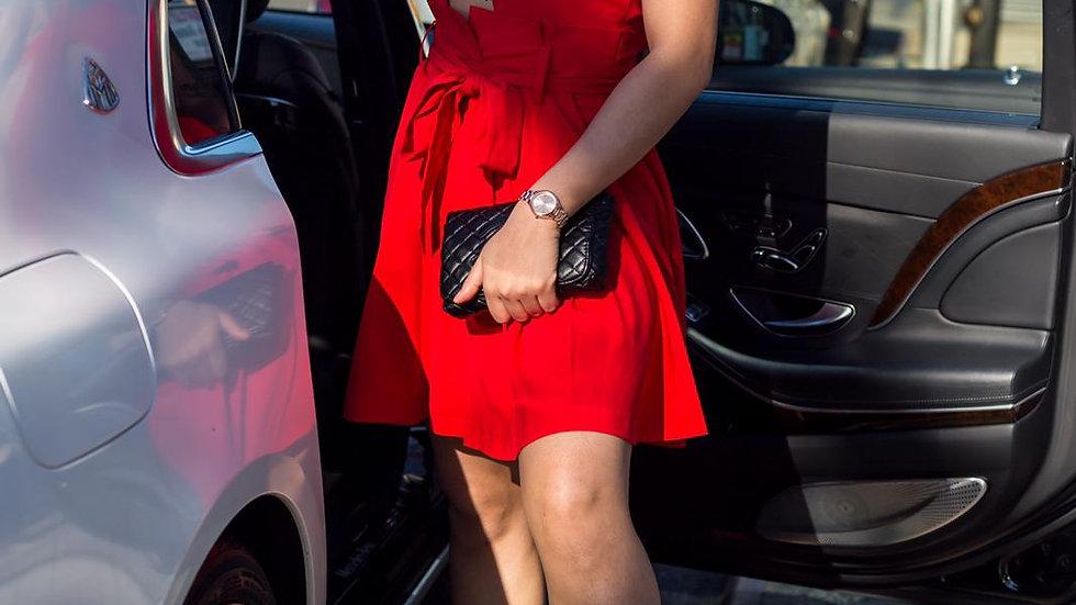 Foxy red halter dress