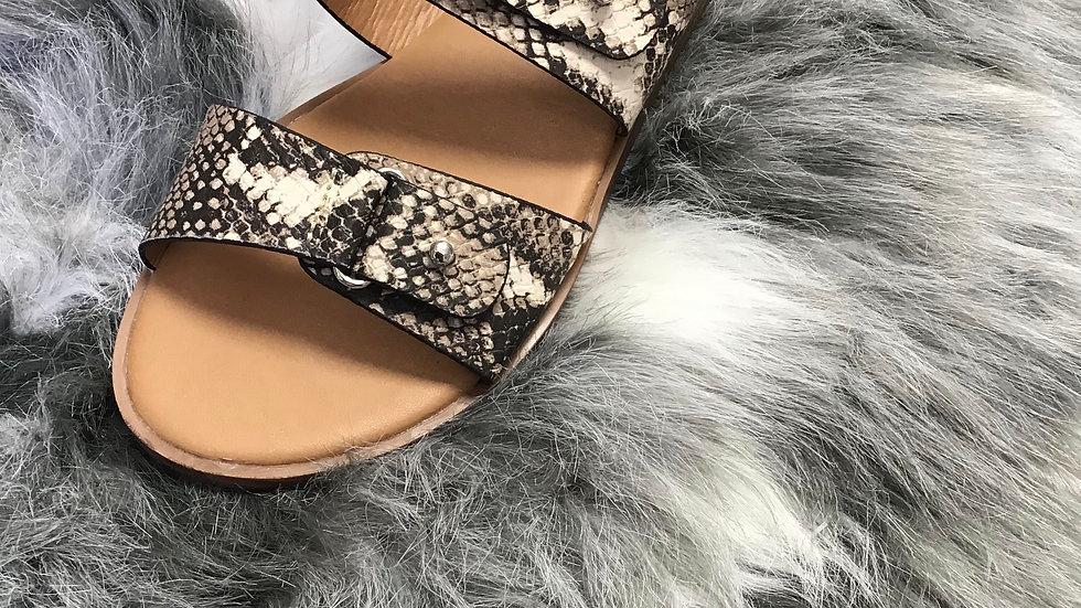 Snake Print Double buckle Sandal
