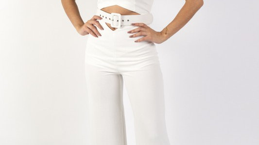 Solid Sleeveless Wide Leg Jumpsuit