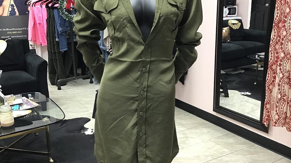 Dress in silk blouse