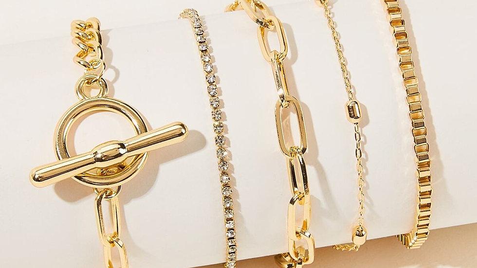 Rhinestone & Chain link bracelet