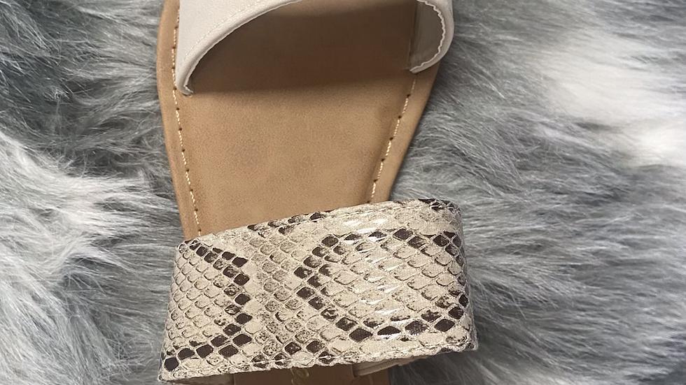 Beige snake sandals