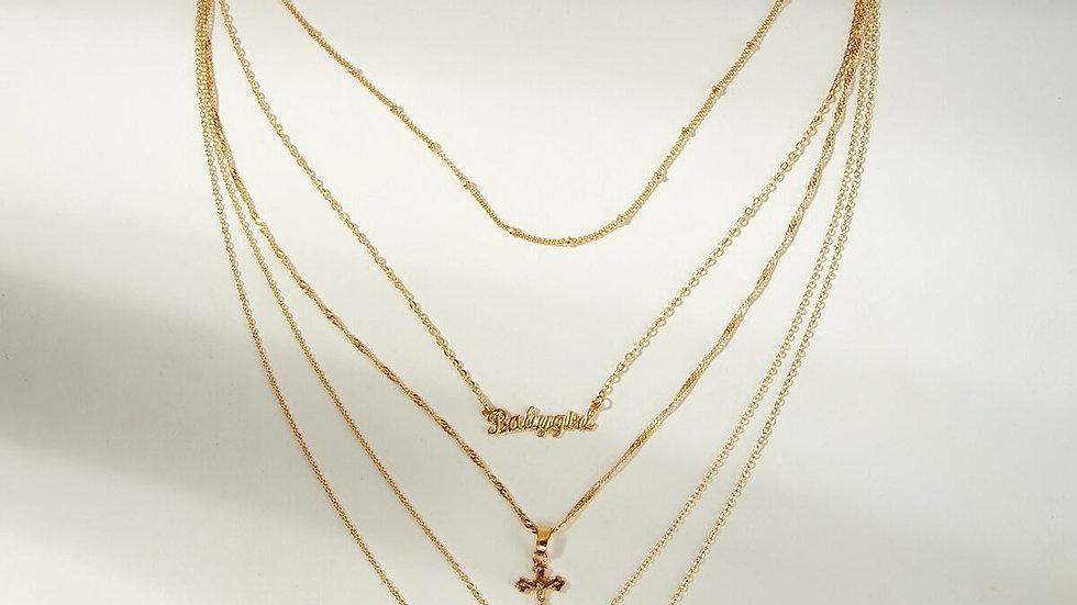 Cross & Lock layered necklace