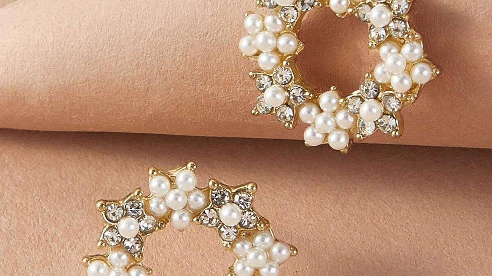 Pearl Rhinestone hoop earrings