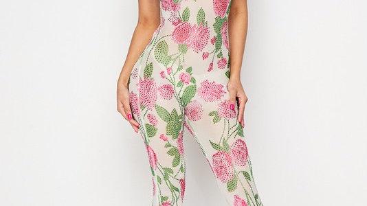 Rhinestone Floral Jumpsuit