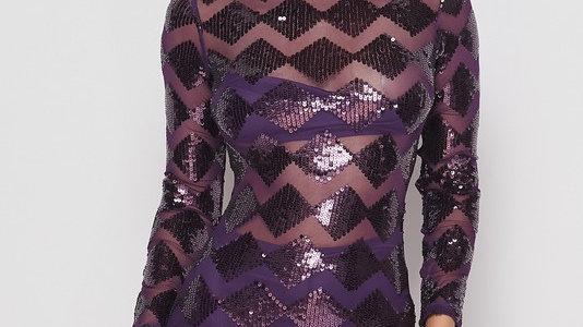 Purple rain sequin dress