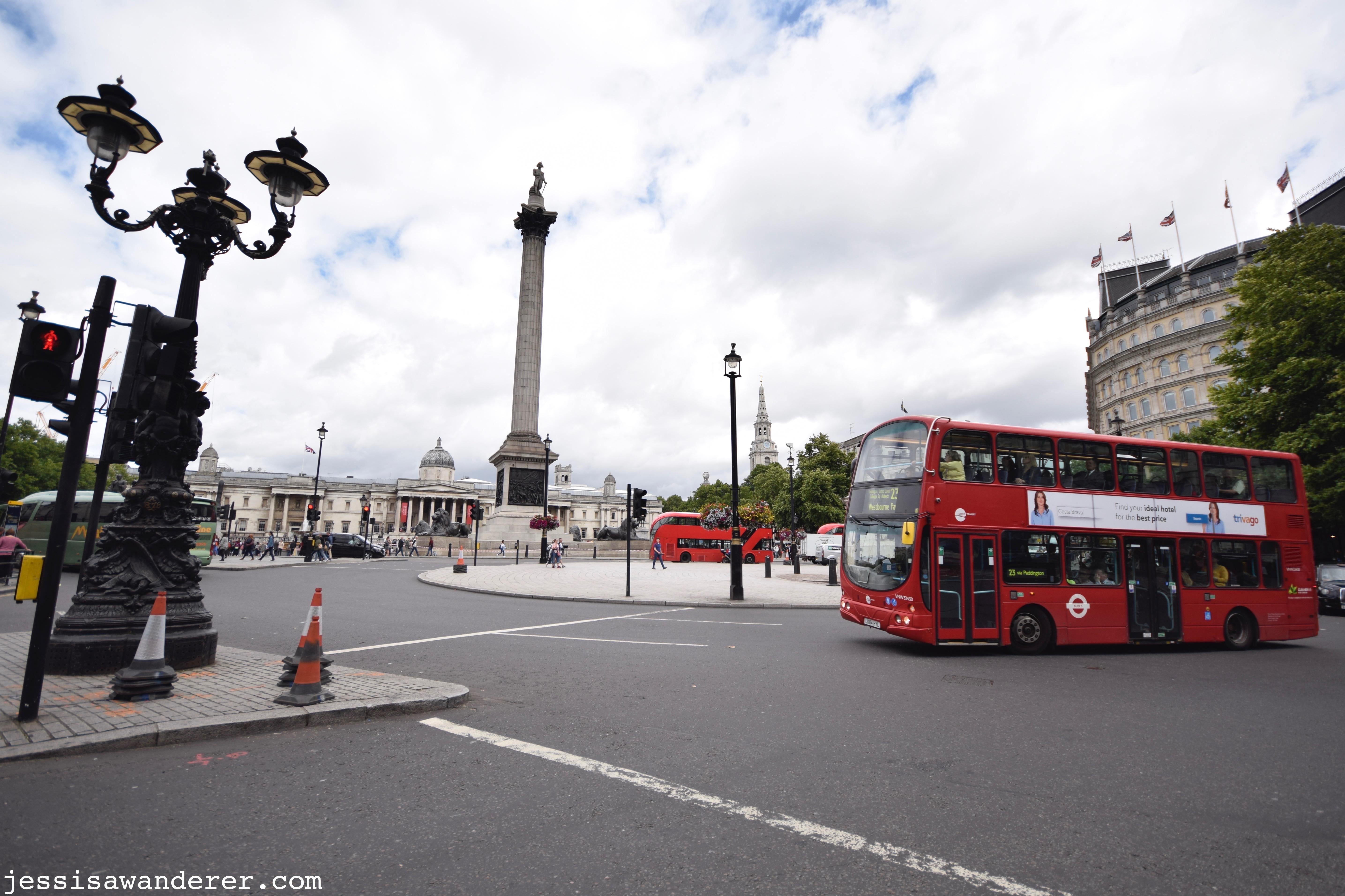Red Bus Rounding Trafalgar