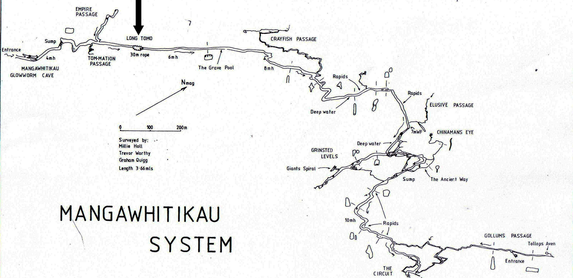 Mangawhitikau Cave Map