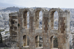 City through Amphitheatre Ruins