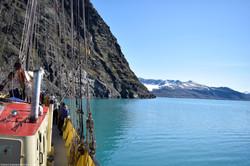Sailing past Cliffs