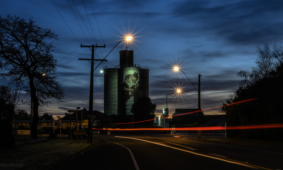 Silos and Light Trail